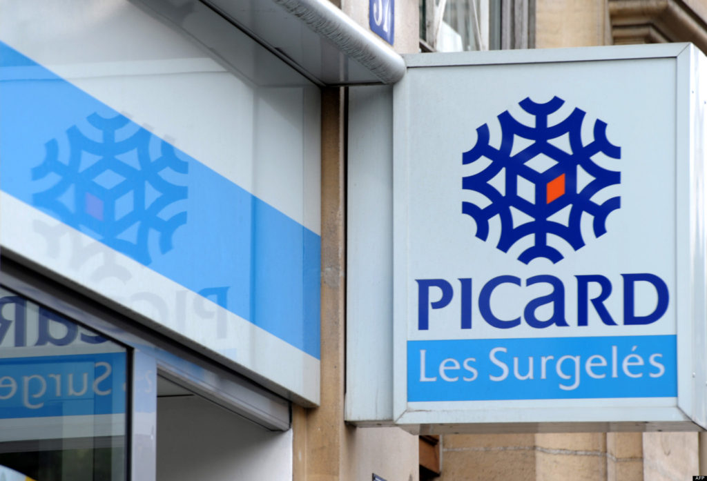 Picture taken on July 26, 2010 in Paris shows the logo of French frozen foods group Picard. Consumer-focused investment firm Lion Capital is in exclusive talks with British investment fund BC Partners to buy Picard, Picard, Lion Capital and BC Partners said on July 26, 2010.  AFP PHOTO  ERIC PIERMONT
